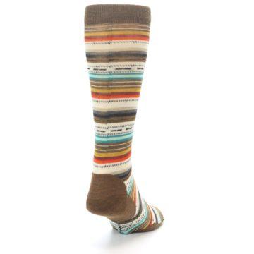 Image of Brown Multi Stripe Wool Men's Casual Socks (side-1-back-20)