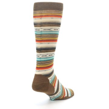 Image of Brown Multi Stripe Wool Men's Casual Socks (side-1-back-21)