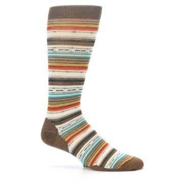 Image of Brown Multi Stripe Wool Men's Casual Socks (side-1-25)