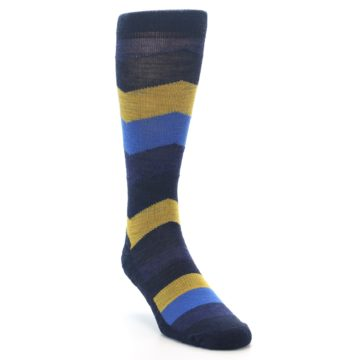 Image of Blue Gold Chevron Wool Men's Casual Socks (side-1-front-02)