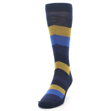 Image of Blue Gold Chevron Wool Men's Casual Socks (side-2-front-06)