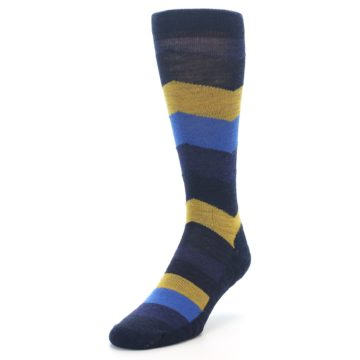 Image of Blue Gold Chevron Wool Men's Casual Socks (side-2-front-07)