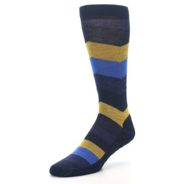Image of Blue Gold Chevron Wool Men's Casual Socks (side-2-front-08)