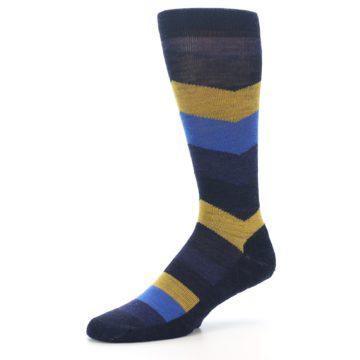 Image of Blue Gold Chevron Wool Men's Casual Socks (side-2-09)