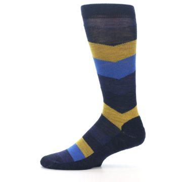 Image of Blue Gold Chevron Wool Men's Casual Socks (side-2-11)