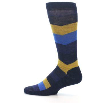 Image of Blue Gold Chevron Wool Men's Casual Socks (side-2-12)