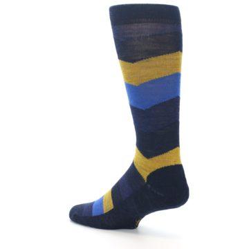 Image of Blue Gold Chevron Wool Men's Casual Socks (side-2-back-14)