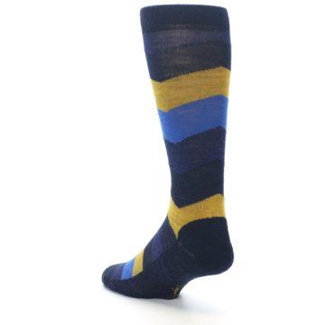 Image of Blue Gold Chevron Wool Men's Casual Socks (side-2-back-15)