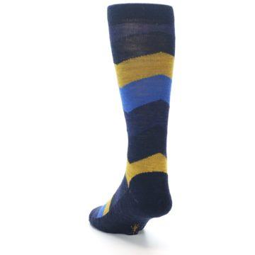 Image of Blue Gold Chevron Wool Men's Casual Socks (side-2-back-16)