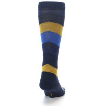 Image of Blue Gold Chevron Wool Men's Casual Socks (back-19)