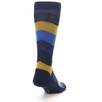 Image of Blue Gold Chevron Wool Men's Casual Socks (side-1-back-20)