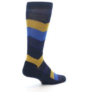 Image of Blue Gold Chevron Wool Men's Casual Socks (side-1-back-22)
