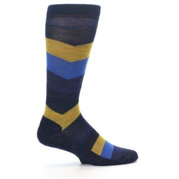 Image of Blue Gold Chevron Wool Men's Casual Socks (side-1-24)