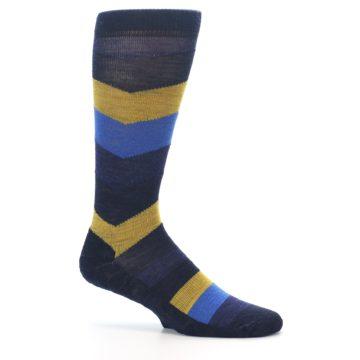 Image of Blue Gold Chevron Wool Men's Casual Socks (side-1-25)