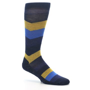 Image of Blue Gold Chevron Wool Men's Casual Socks (side-1-26)