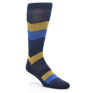Image of Blue Gold Chevron Wool Men's Casual Socks (side-1-27)