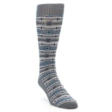 Image of Grey Stripe Pattern Wool Men's Casual Socks (side-1-front-02)