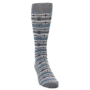 Image of Grey Stripe Pattern Wool Men's Casual Socks (side-1-front-03)