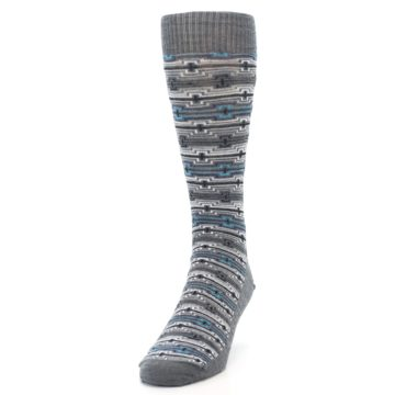 Image of Grey Stripe Pattern Wool Men's Casual Socks (side-2-front-06)