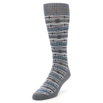 Image of Grey Stripe Pattern Wool Men's Casual Socks (side-2-front-07)