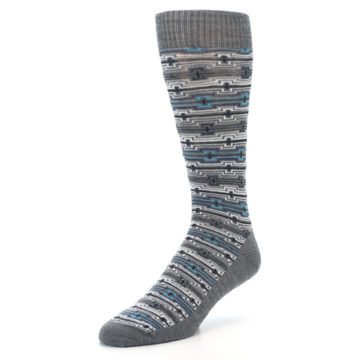 Image of Grey Stripe Pattern Wool Men's Casual Socks (side-2-front-08)