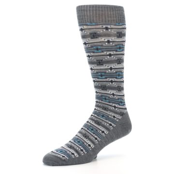 Image of Grey Stripe Pattern Wool Men's Casual Socks (side-2-09)