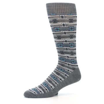 Image of Grey Stripe Pattern Wool Men's Casual Socks (side-2-10)