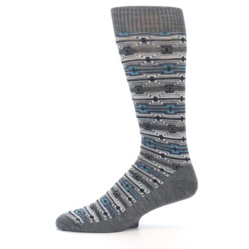 Image of Grey Stripe Pattern Wool Men's Casual Socks (side-2-11)