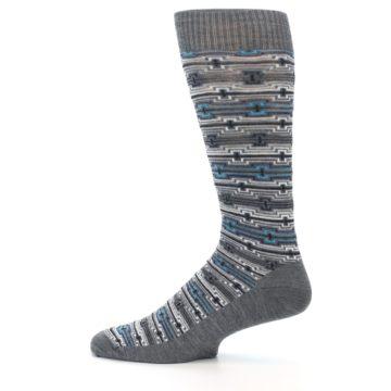 Image of Grey Stripe Pattern Wool Men's Casual Socks (side-2-12)