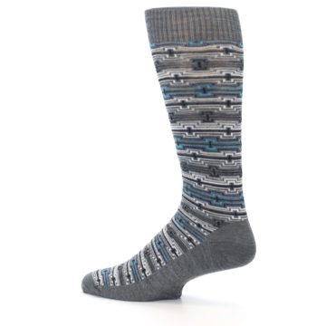 Image of Grey Stripe Pattern Wool Men's Casual Socks (side-2-13)