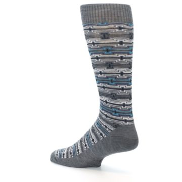 Image of Grey Stripe Pattern Wool Men's Casual Socks (side-2-back-14)
