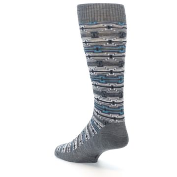 Image of Grey Stripe Pattern Wool Men's Casual Socks (side-2-back-15)