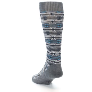 Image of Grey Stripe Pattern Wool Men's Casual Socks (side-2-back-16)