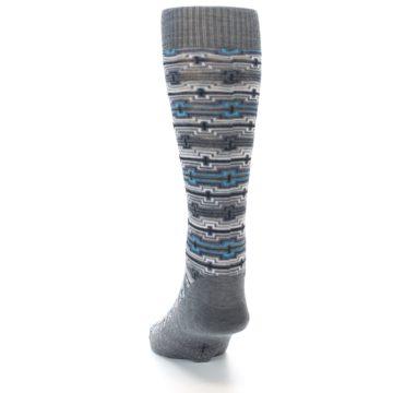 Image of Grey Stripe Pattern Wool Men's Casual Socks (back-17)
