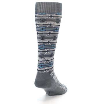 Image of Grey Stripe Pattern Wool Men's Casual Socks (side-1-back-20)