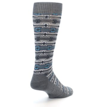 Image of Grey Stripe Pattern Wool Men's Casual Socks (side-1-back-21)