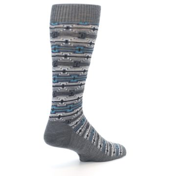 Image of Grey Stripe Pattern Wool Men's Casual Socks (side-1-back-22)