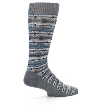 Image of Grey Stripe Pattern Wool Men's Casual Socks (side-1-23)