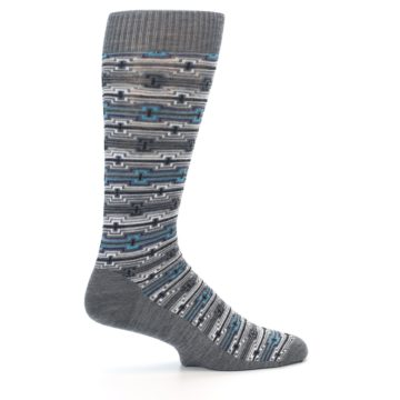 Image of Grey Stripe Pattern Wool Men's Casual Socks (side-1-24)