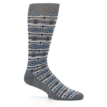 Image of Grey Stripe Pattern Wool Men's Casual Socks (side-1-25)