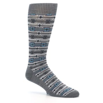Image of Grey Stripe Pattern Wool Men's Casual Socks (side-1-26)