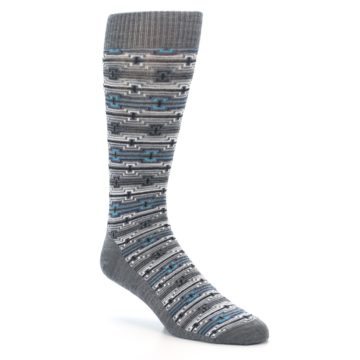 Image of Grey Stripe Pattern Wool Men's Casual Socks (side-1-27)