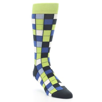 Image of Lime Blue Dark-Grey Checkered Men's Dress Socks (side-1-front-02)