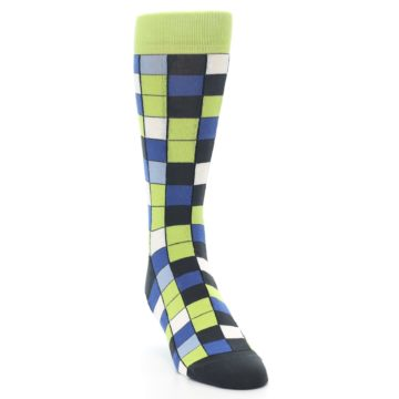 Image of Lime Blue Dark-Grey Checkered Men's Dress Socks (side-1-front-03)