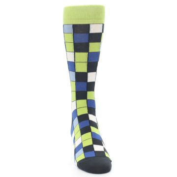 Image of Lime Blue Dark-Grey Checkered Men's Dress Socks (front-04)