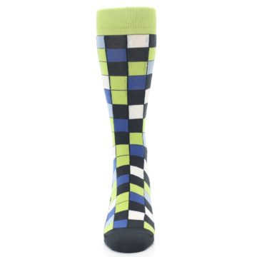 Image of Lime Blue Dark-Grey Checkered Men's Dress Socks (front-05)