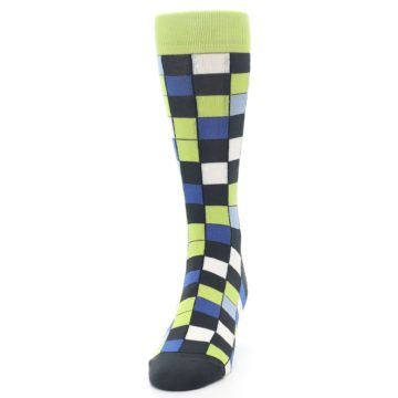 Image of Lime Blue Dark-Grey Checkered Men's Dress Socks (side-2-front-06)
