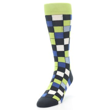Image of Lime Blue Dark-Grey Checkered Men's Dress Socks (side-2-front-07)