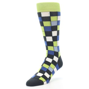 Image of Lime Blue Dark-Grey Checkered Men's Dress Socks (side-2-front-08)