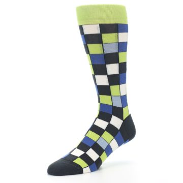 Image of Lime Blue Dark-Grey Checkered Men's Dress Socks (side-2-09)